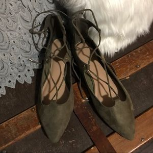 ARMY GREEN old navy wrap / tie up flats